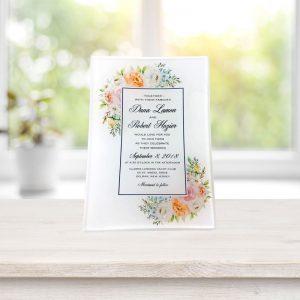 Glass Tray of a Wedding Invitation